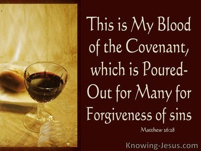 Matthew 26:28 My Blood Of The New Covenant For Forgivensss Of Sins (brown)